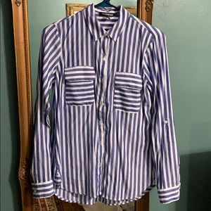 Express blue striped shirt XS